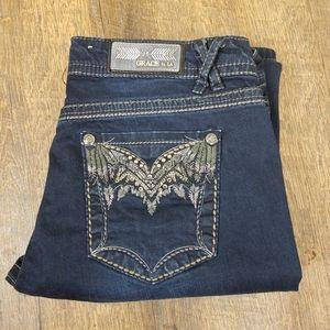 Grace denim embellished pockets dark wash sz 31